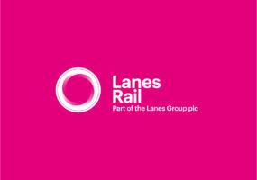 Lanes Rail Logo White on Pink