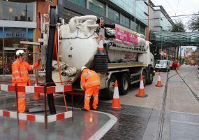 Lanes Engineers at a Manchester City Centre Tram Crossing