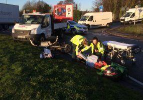Lanes Engineers helping injured motorcyclist