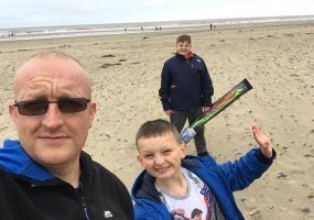 Chris Wilde on the beach