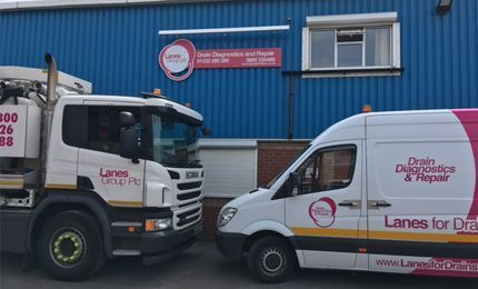 Lanes Group Derby depot exterior with tanker truck and van parked outside