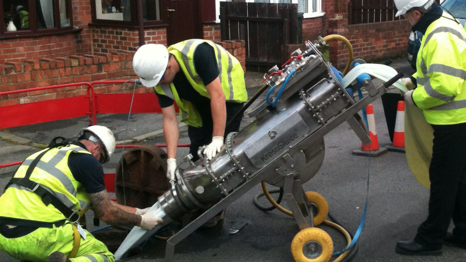 Lanes Group workers operating CIPP/drain relining technology