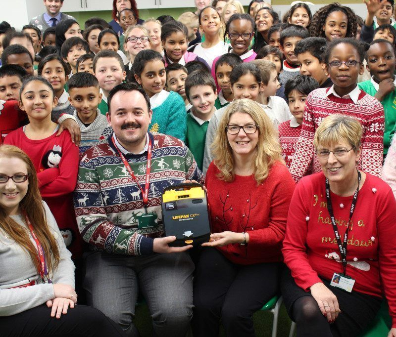 Lanes Group Defibrillator at St Mary's School At Christmas