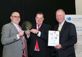 Lanes Group Technical Director Andy Brierley, centre is presented with the 2016 People Award by, left, Paul Horton, CEO of the Future Water Association, and David Smoker, Business Development Director of ACO Water Management.