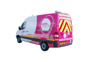 Lanes Group PLC branded van with mounted CCTV Survey equipment pictured from behind