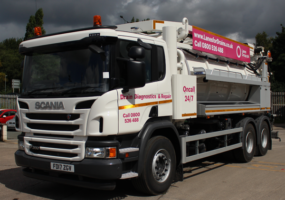 Flexline tanker truck with Lanes Group PLC branding