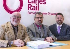 Contract signed, from the left: Lanes Group Rail Director Bruce Crompton; Lanes Rail TfL Project Director Huseyin Ibrahim; and Lanes Rail Commercial Director Matthew Todd.