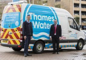 Lanes Group Technical Director (right) with Steve Spencer, Head of Customer Field Services (Waste water) at Thames Water, and a van sporting the new livery.