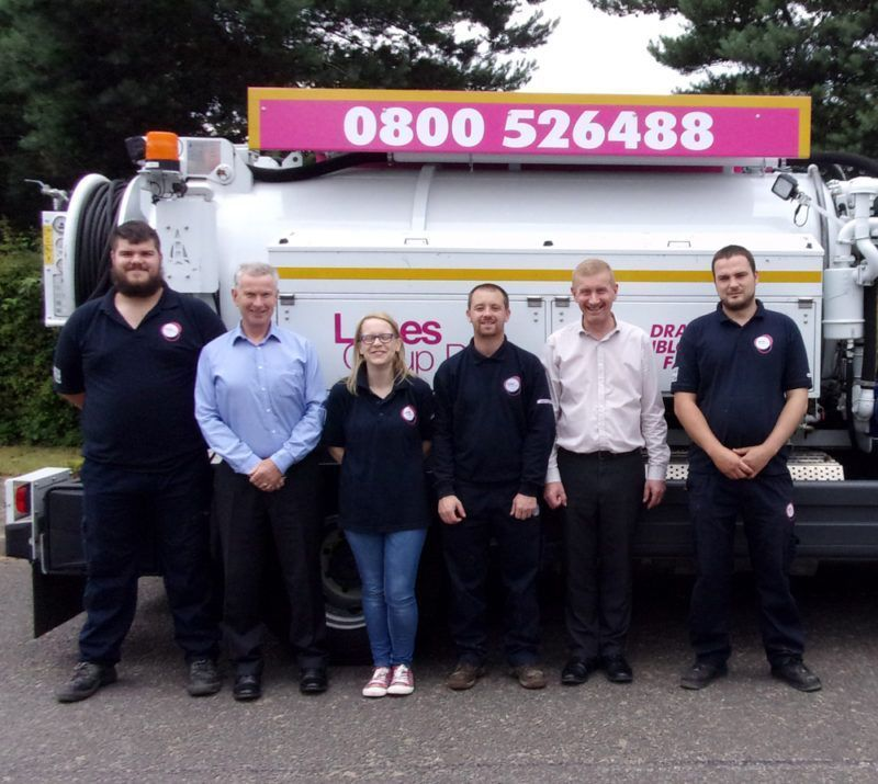 Ready to roll – the new Lanes Swaffham team, from the left:  Ashley Manning, CCTV operator; Trevor Allum, Area Development Manager; Michelle Nichols, Administrator; Kristopher Doolan, Jetting and Vacuumation Engineer; Tom Grove, Regional Manager; Dean O'Leary, Blockage Engineer.