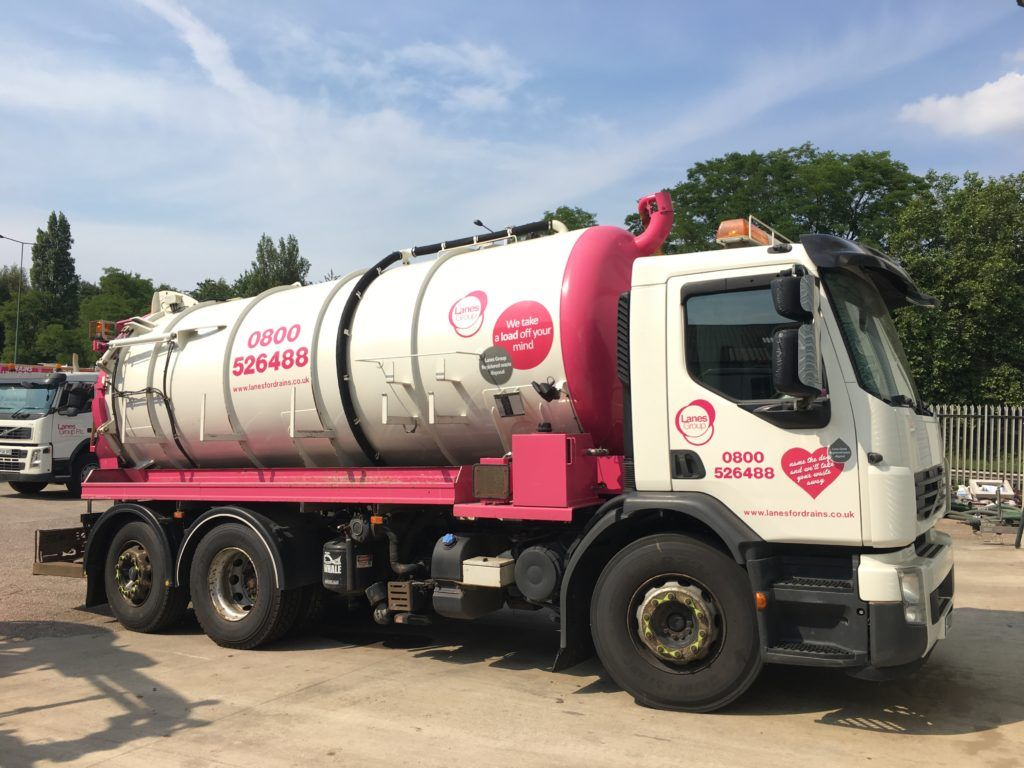 Lanes Group-branded whale waste tanker truck parked outside