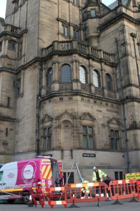 Lanes Group Sheffield at the Sheffield Town Hall conducting relining CI[PP and CCTV works