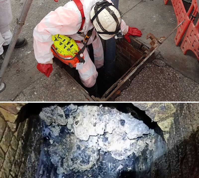 Lanes Utilities working hard to remove the Whitechapel Fatberg