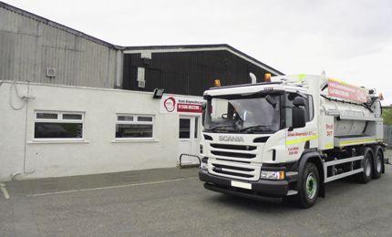 Lanes Group PLC Edinburgh depot exterior with tanker vehicle