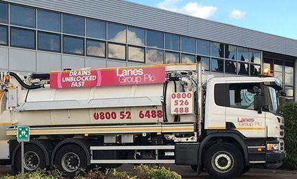 Lanes group branded tanker truck outside depot