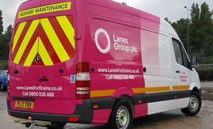 Lanes Group branded van from behind