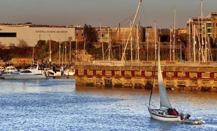 Plymouth quay with sail boat in the foreground