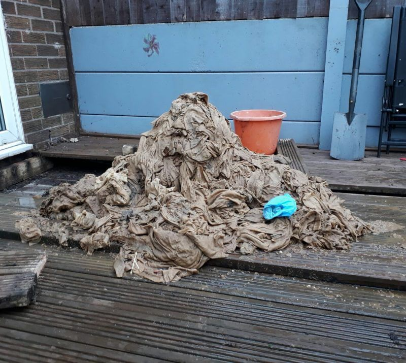 Wet wipe pile removed from drain