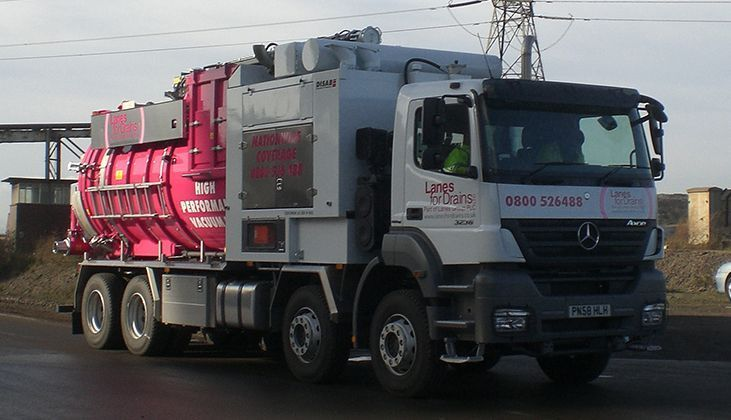 hydro demolition tanker unit in Lanes Group branding driving down the road