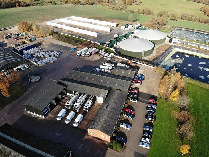 Overhead view of Lanes Group's tankering units located in Stafford