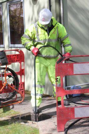 Lanes engineer undertaking essential major sewer maintenance in Cardiff