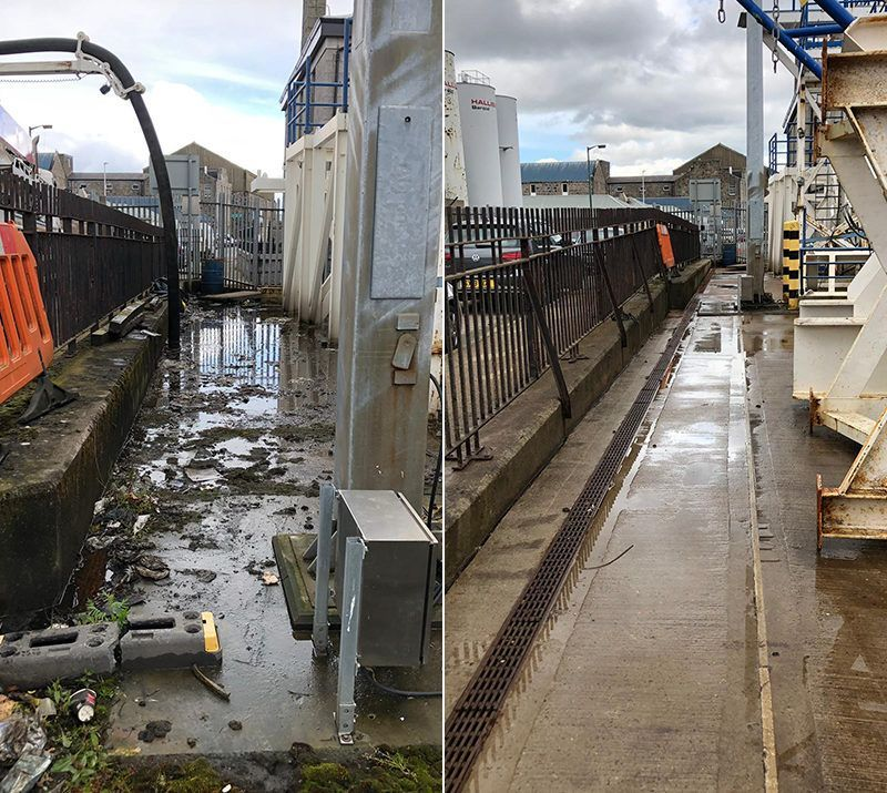 Industrial Site Clean before after Lanes Aberdeen