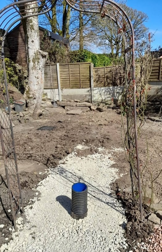 The new 150mm surface water drain before being incorporated into a new patio